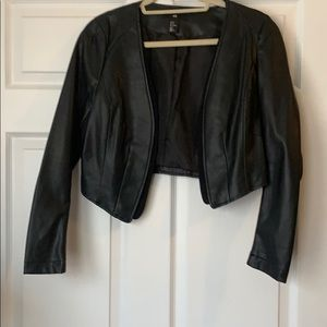 H&M cropped black leather look, mixed media jacket
